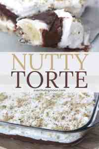 Nutty Torte is a delicious layered dessert. The nut based crust, cream cheese layer, pudding layer and cool whip topping come together to create the perfect dessert. From overthebigmoon.com!