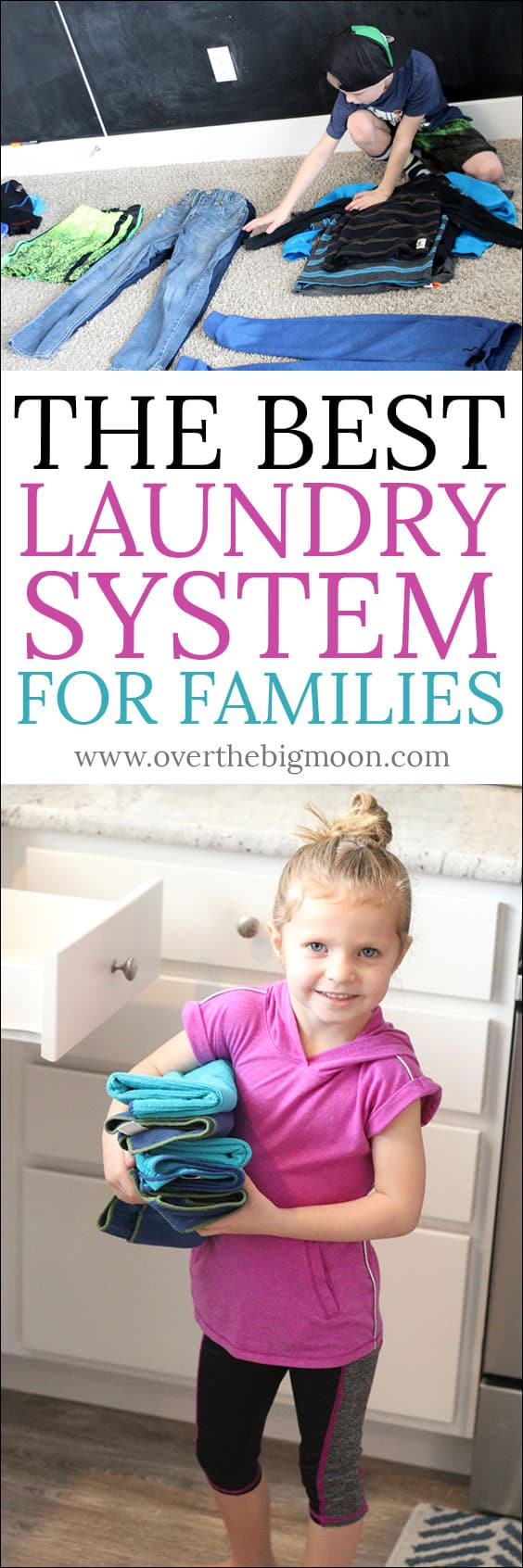 It's time to get the whole family involved and helping with laundry! Come see the Best Laundry System for Families! From overthebigmoon.com! #laundry #chores