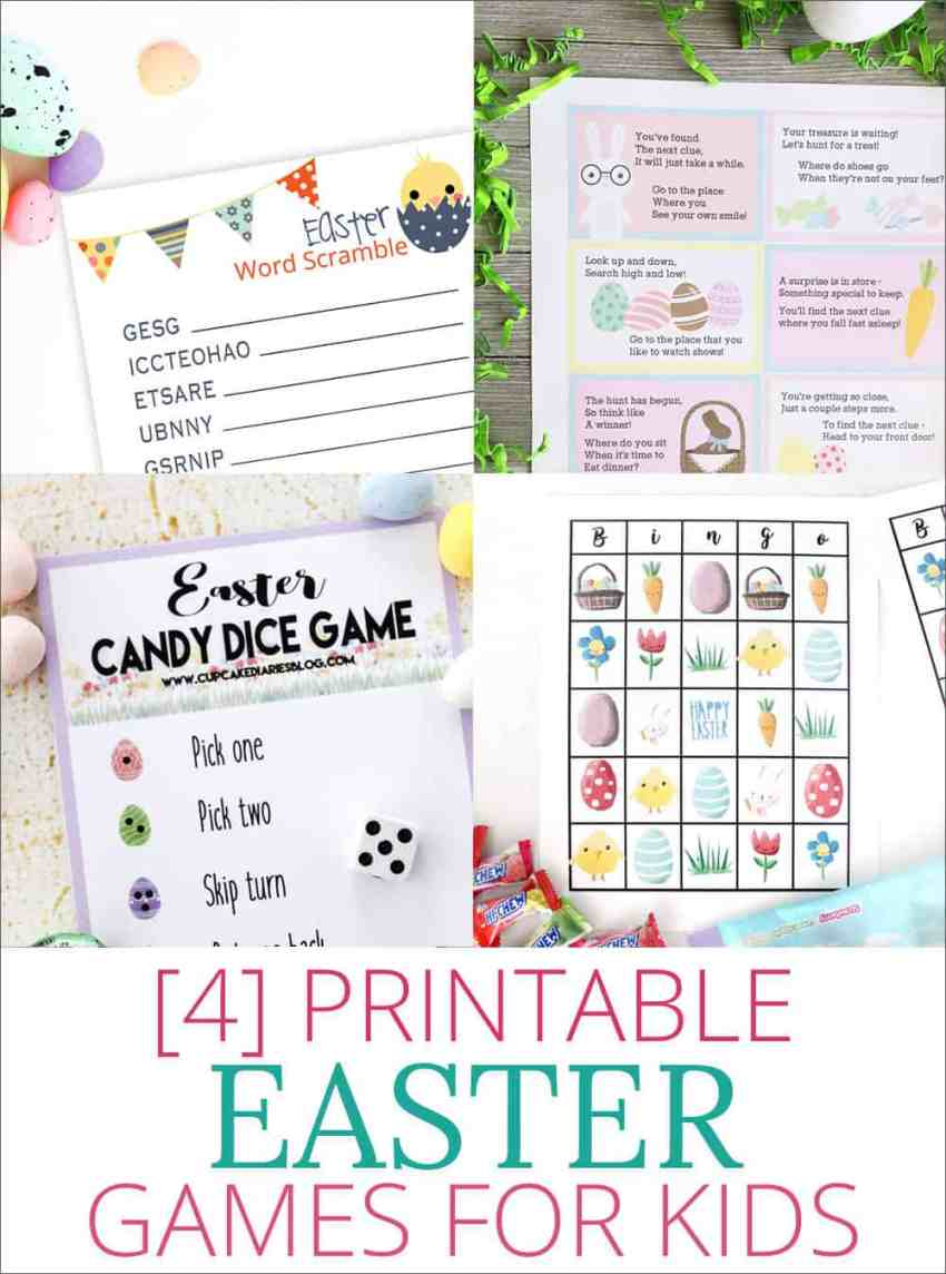 4 Fun and Free Printable Easter Games for Kids -- Easter Word Scramble, Easter Scavenger Hunt, Easter Dice Game and Easter Bingo! overthebigmoon.com!