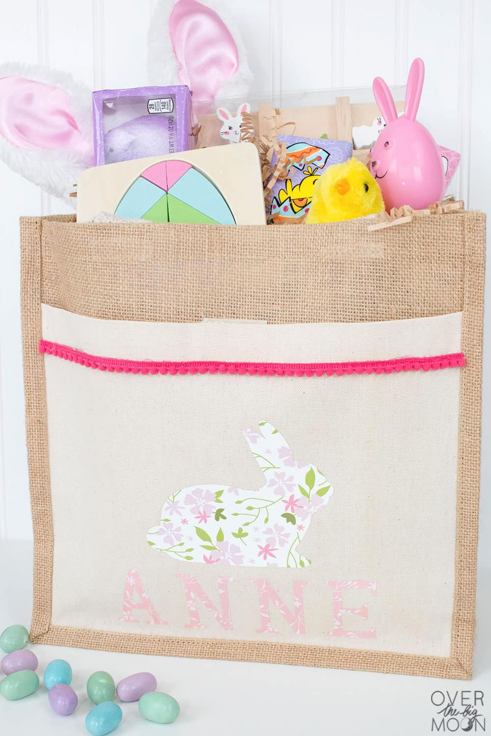DIY Personalized Easter Basket for Kids - this turned out so fun and I made it in under 30 minutes! From overthebigmoon.com!