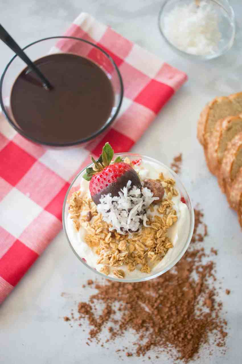 Yogurt Parfait with Chocolate Covered Strawberry