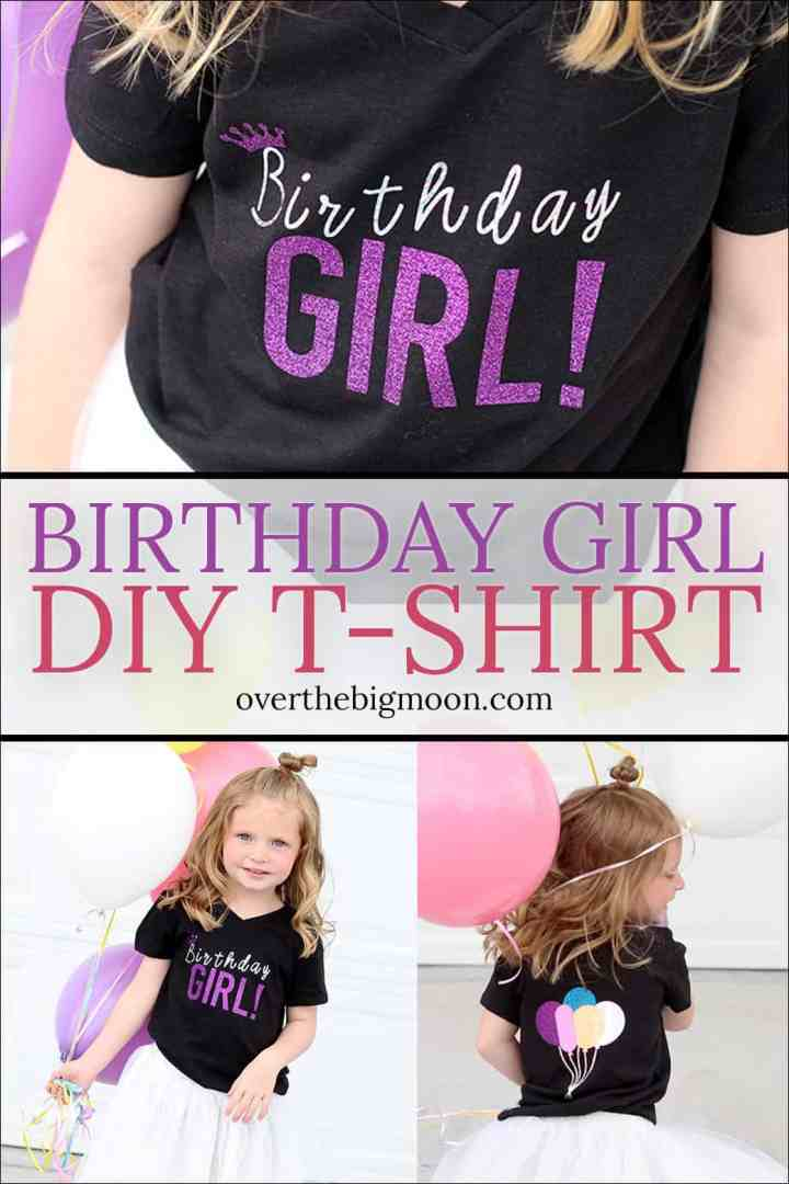 A fun Birthday Girl T-Shirt Design made with Iron On -- perfect for your little birthday princess! From overthebigmoon.com!