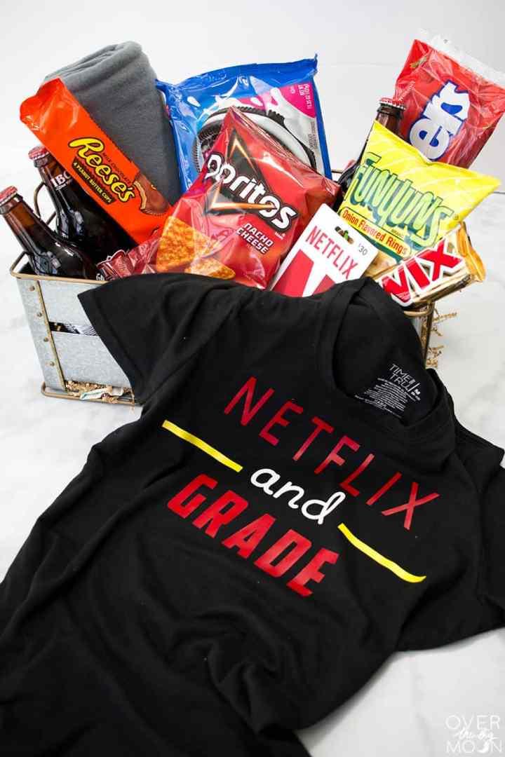 Netflix and Grade T-Shirt and Teacher Gift Basket - the perfect teacher gift from overthebigmoon.com!