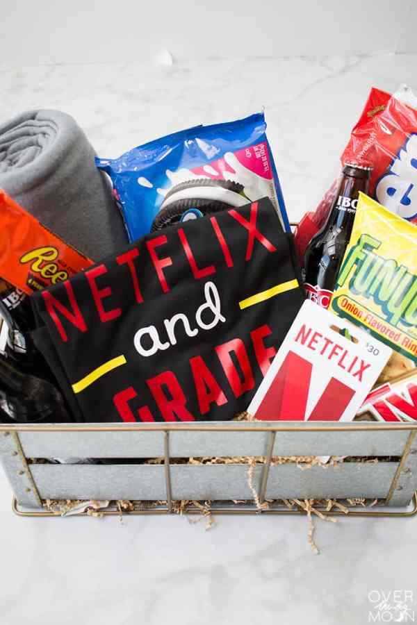 Netflix Binge Basket - the perfect teacher gift! From overthebigmoon.com!