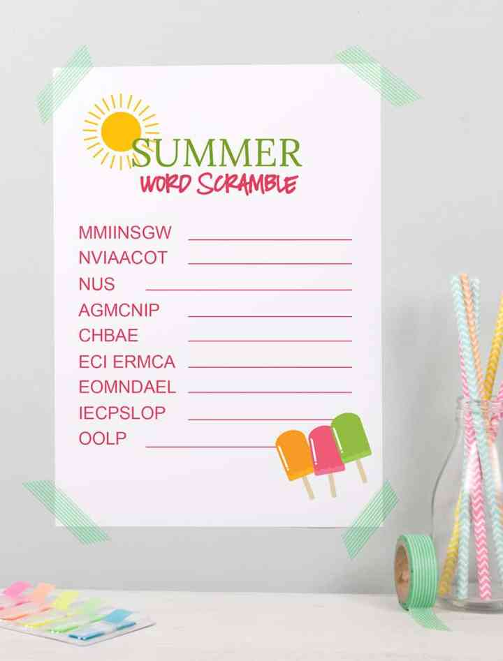 Printable Summer Word Scramble for Kids! From overthebigmoon.com!