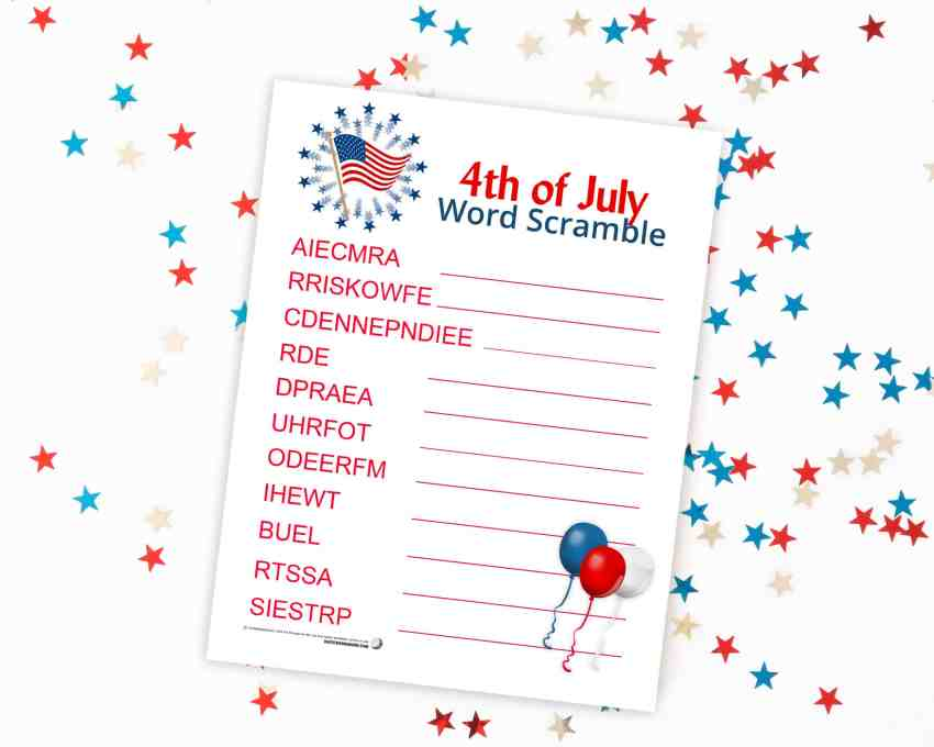 4th of July Word Scramble - this is the perfect activity for your kids to do to help celebrate 4th of July! From overthebigmoon.com!
