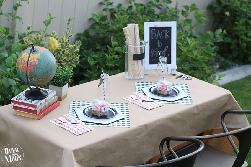 Back to School Breakfast Idea - including tutorials for the DIY Chargers and Clear Acetate Boxes made using a Cricut Maker! From overthebigmoon.com!