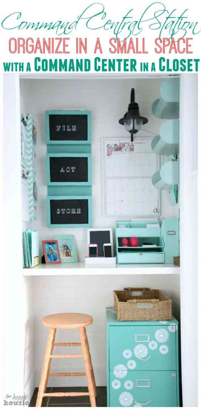 Convert a small closet into a command center like this! From overthebigmoon.com!