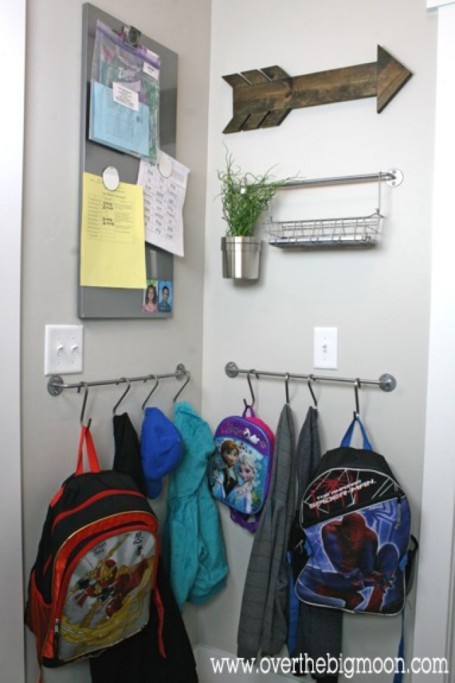 Create a mudroom easily with these simple ideas! From overthebigmoon.com!