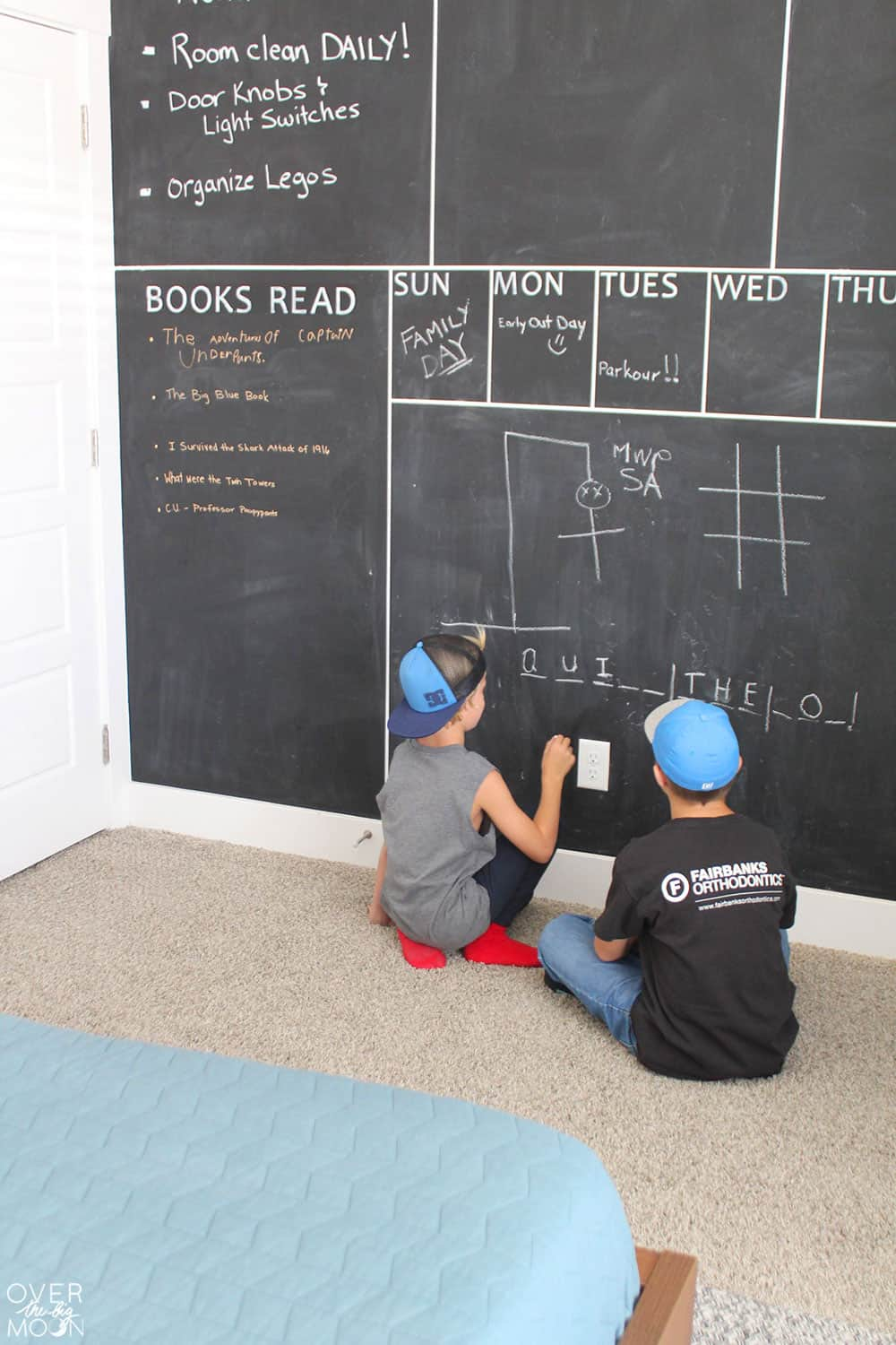 DIY Chalkboard Wall - perfect for a kids room! From overthebigmoon.com!