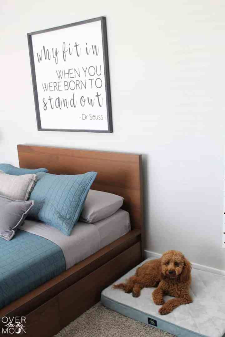 Kids room update - add a dog bed for your little fur baby! From overthebigmoon.com!