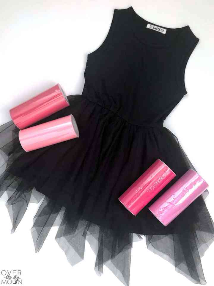 Black Mesh dress using Pink Tulle to enhance the skirt! From overthebigmoon.com!