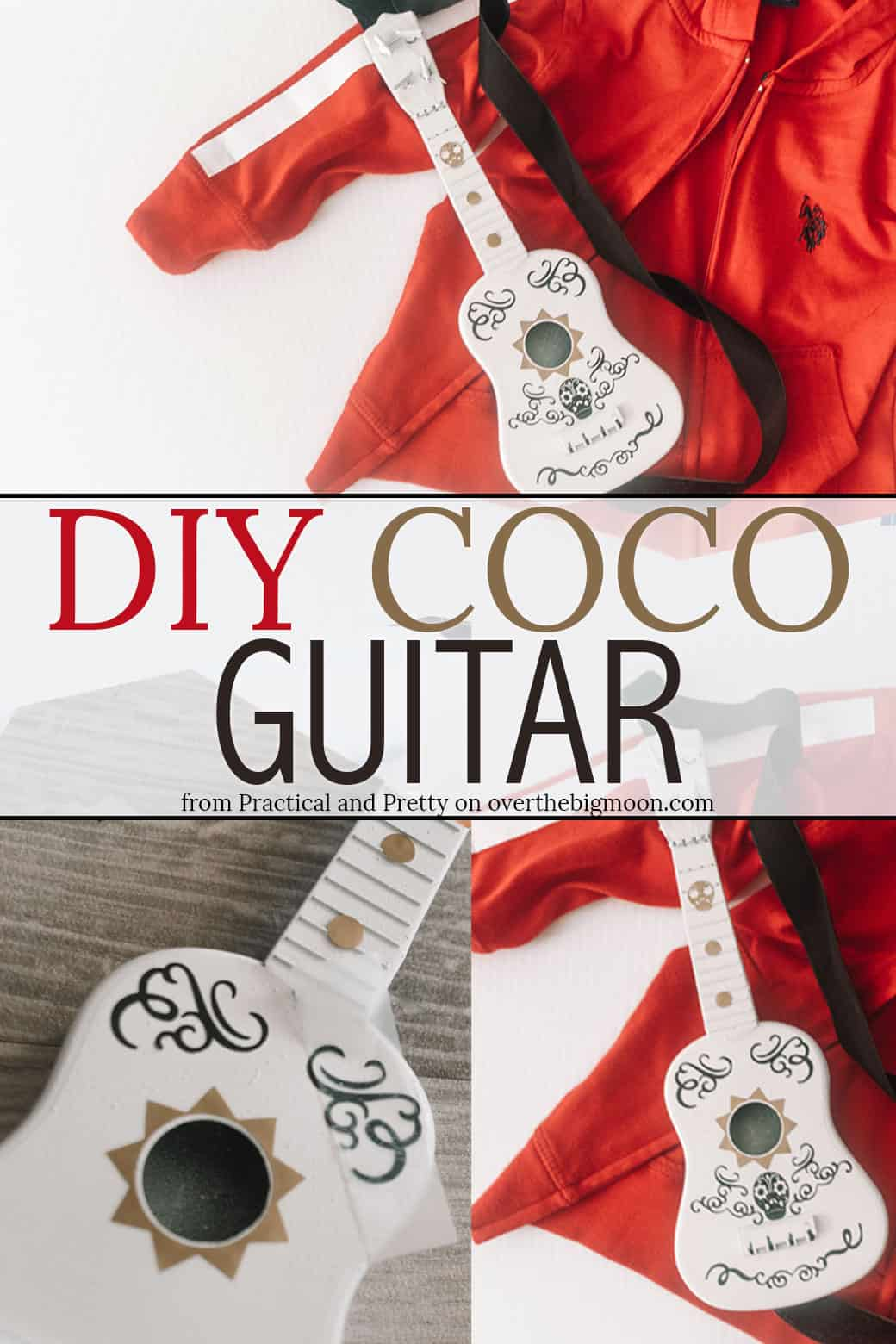 DIY Coco Guitar Tutorial - perfect for a Coco costume or play! Design by Practical and Pretty on overthebigmoon.com!