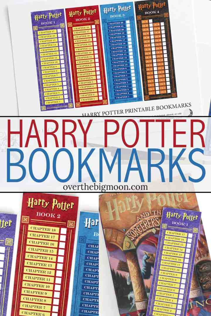 Harry Potter Bookmarks for kids - one for each book! Mark off the chapters as you finished them! Free from overthebigmoon.com!