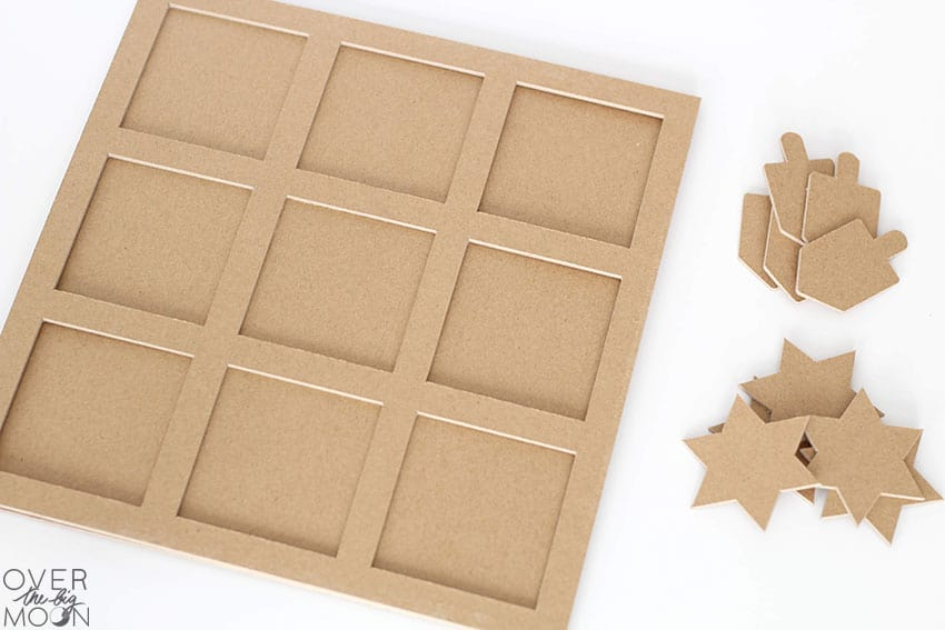 Chipboard cuts done for the Hanukkah Tic Tac Toe Game! From overthebigmoon.com!