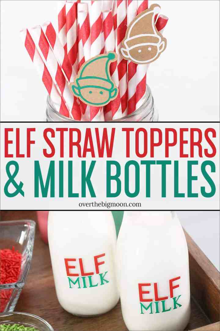 Elf Straw Toppers & Milk Bottles - tutorials for making these fun items for a Christmas Milk & Cookies setup! From overthebigmoon.com!