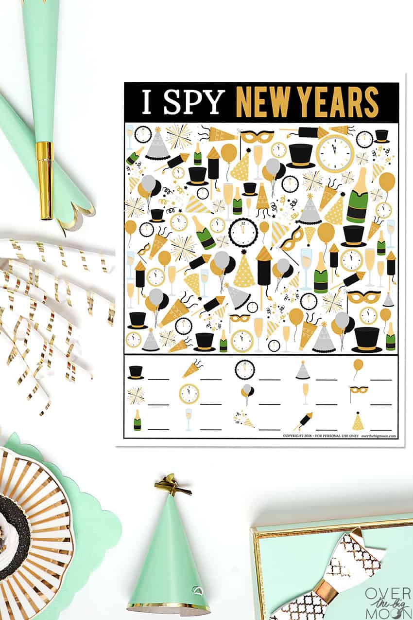 Printable New Years I Spy Printable Game - the perfect activity during your New Year celebrations!! From overthebigmoon.com!