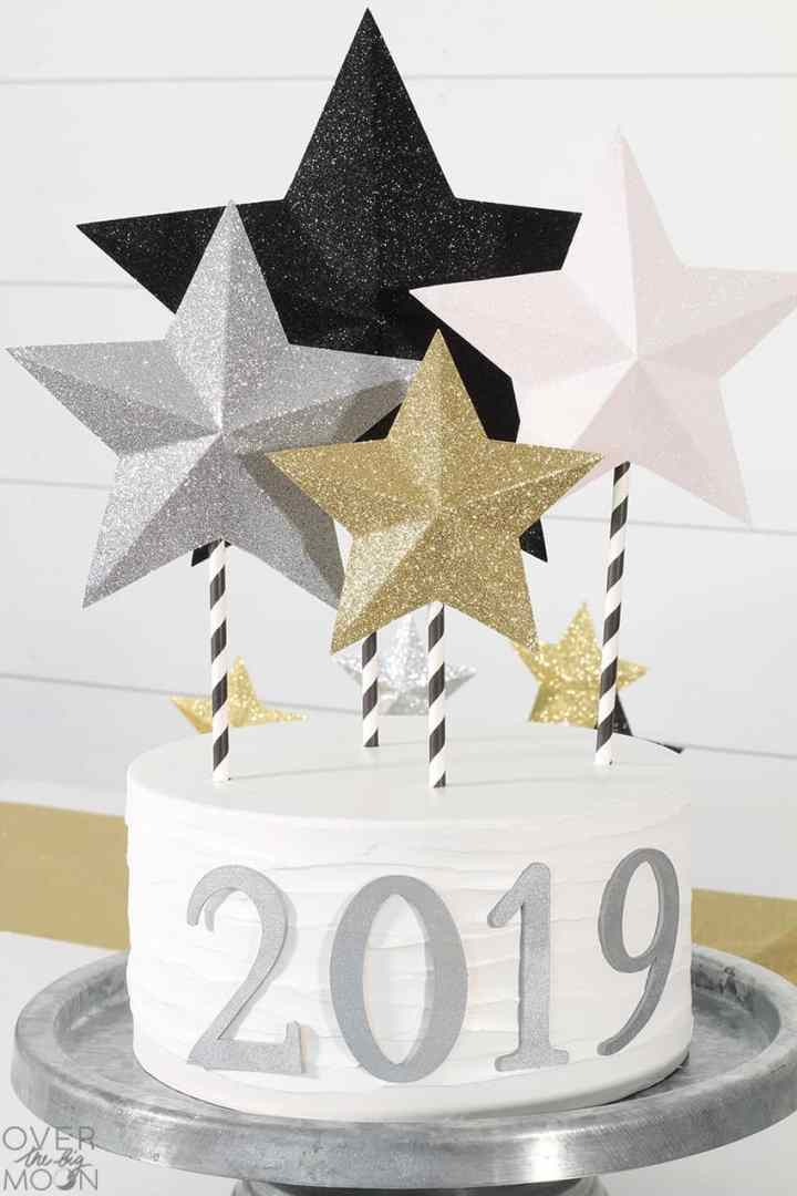 DIY Cake Topper made using Glitter Cardstock! From overthebigmoon.com!