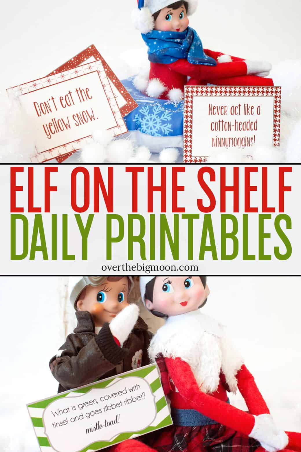 Elf on the Shelf DAILY Printables to make your Elf Season Easier - Elfisms, Joke Cards, Good Deed Cards, Hide and Go Seek Cards and more! All offered as a free download at overthebigmoon.com!