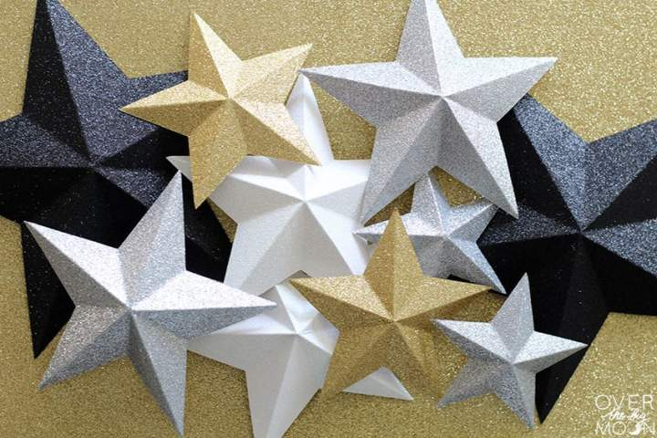 Fold Stars - ready to turn into a Star Cake Topper! From overthebigmoon.com!