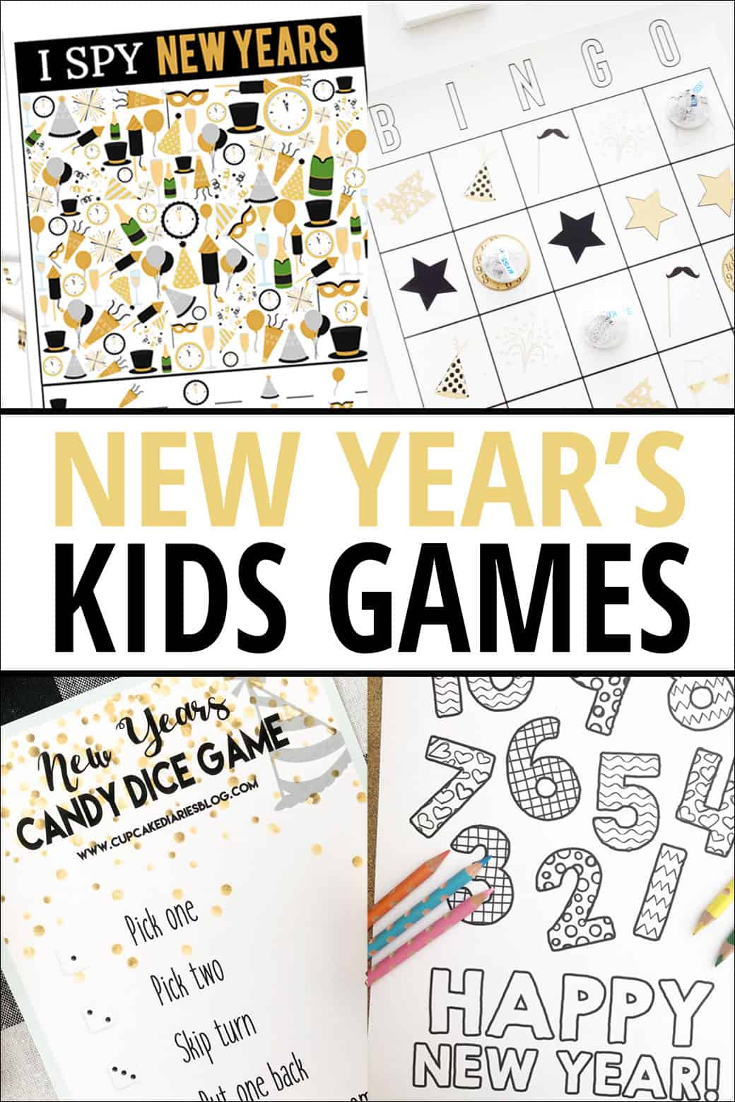 New Years Printable Games for Kids - these printable games are sure to make your family New Years Party even more fun! From overthebigmoon.com!
