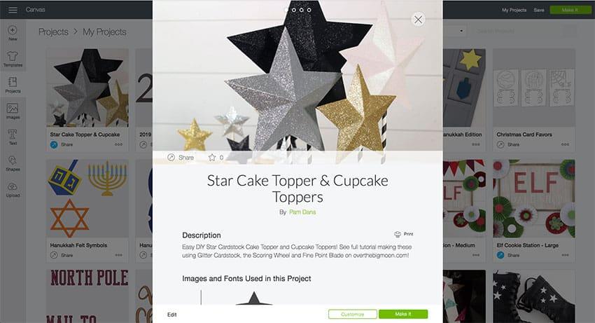 Star Cake Topper Design Space File