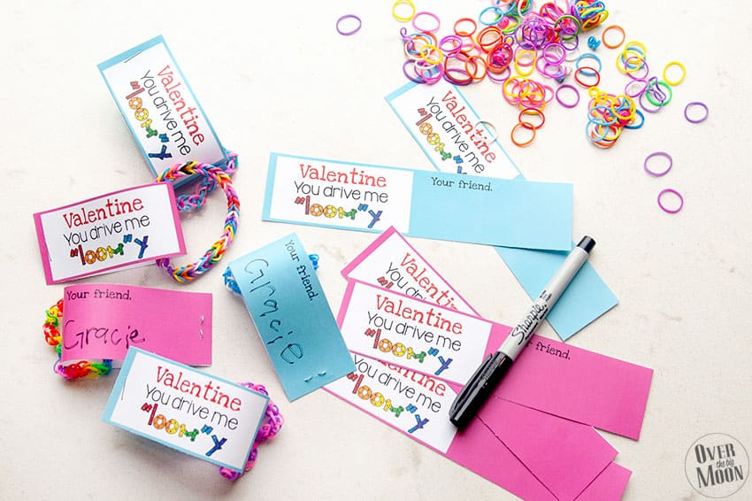 Putting together the Loom Valentine's! From overthebigmoon.com!