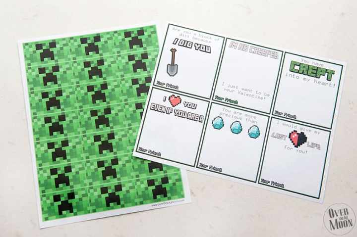 Printed Minecraft Valentines and printable creeper mini candy bar wrappers! From overthebigmoon.com!