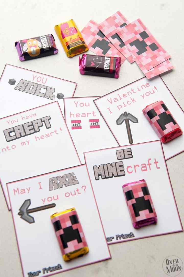 Assemble the Pink Minecraft Valentine's! From overthebigmoon.com!