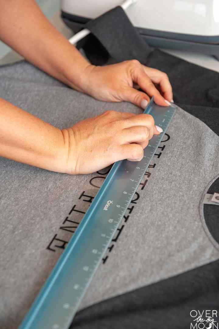 Measuring Iron On placement on a shirt!