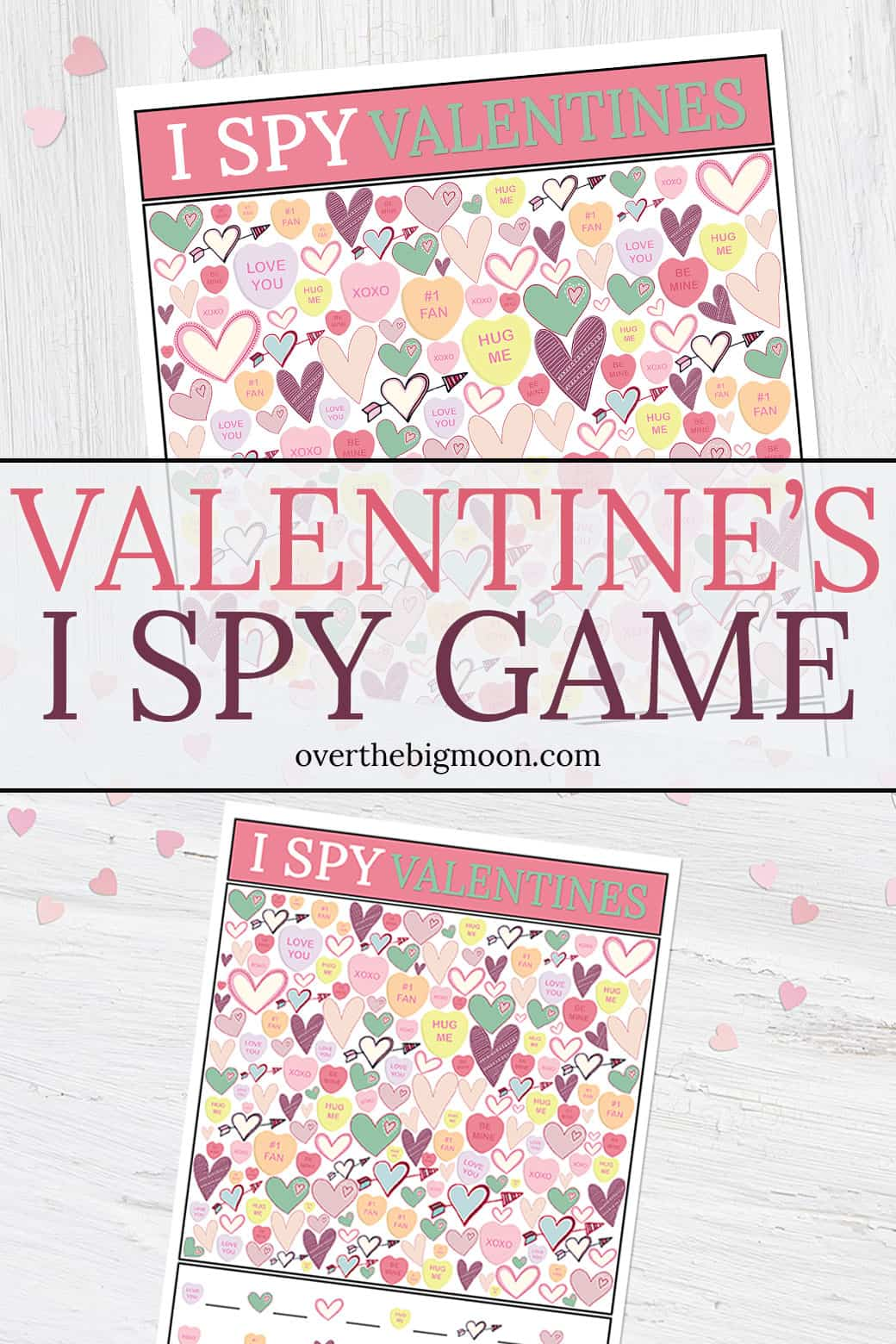 photograph relating to Free Printable Games for Kids identify Valentines Working day I Spy Printable Sport Previously mentioned The Significant Moon