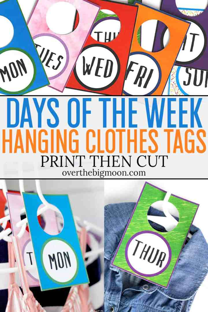 These Days of the Week Clothes Tags are the perfect way to help kids organize their outfits for the week! Use Cricut's Print then Cut feature to make these hanging tags! Super simple and easy to customize! From overthebigmoon.com!