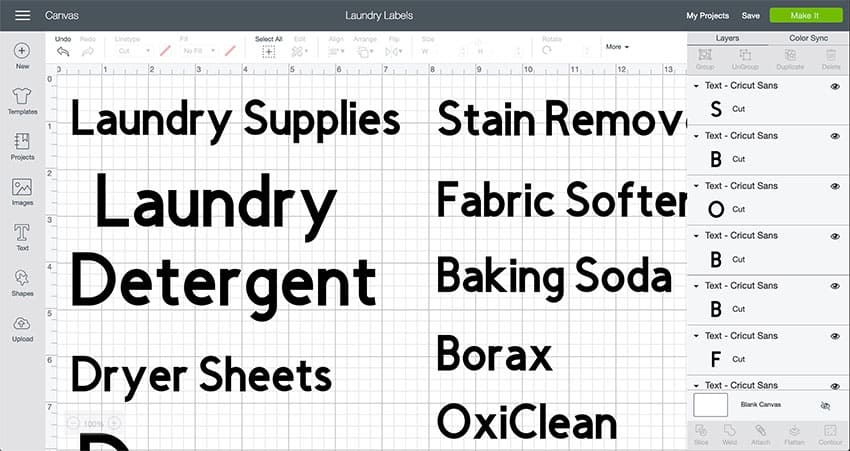 Laundry Room Organization Labels available in Design Space.