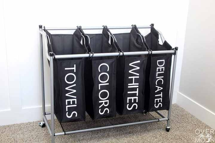 Laundry Sorter with labeled bins using Iron On!