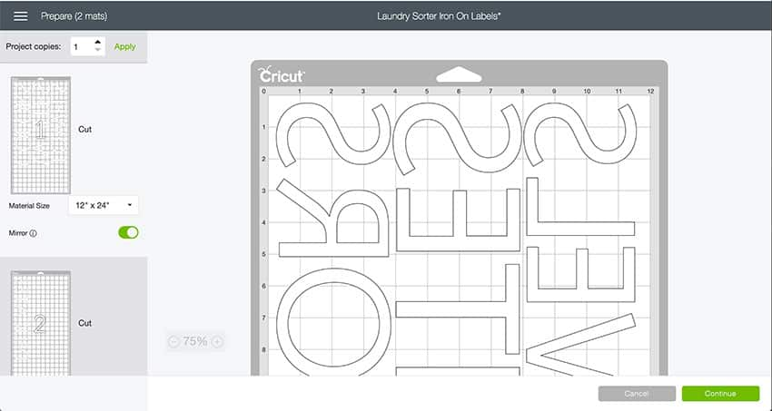 Mat preview of the Laundry Sorter Design Space File