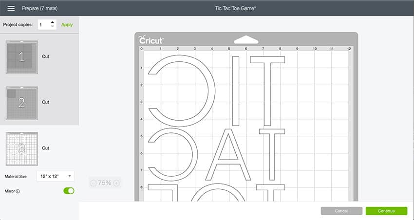 Mat Preview in Design Space of Tic Tac Toe.