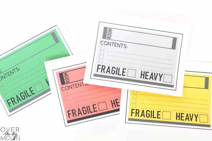 Printed Moving Labels -- ready to be loaded into the Cricut Maker to have the labels cut.