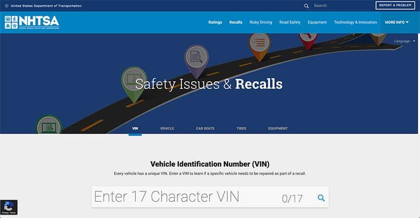 Screenshot of the Vehicle Recall Website