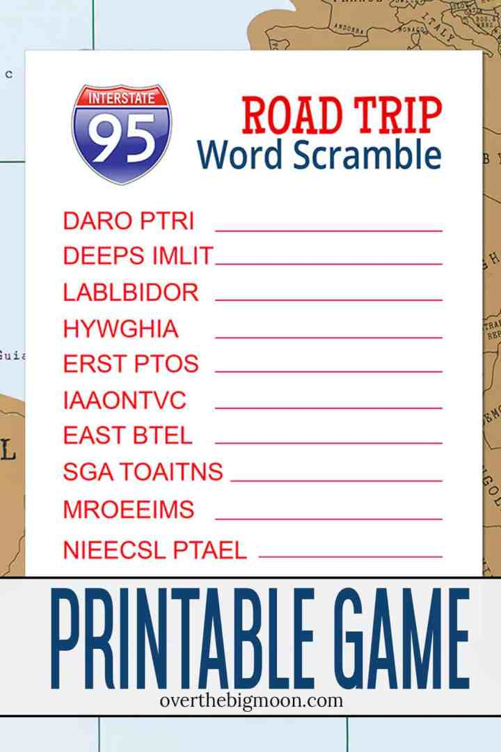 Road Trip Word Scramble Printable Game + Safety Travel Tips! From overthebigmoon.com!