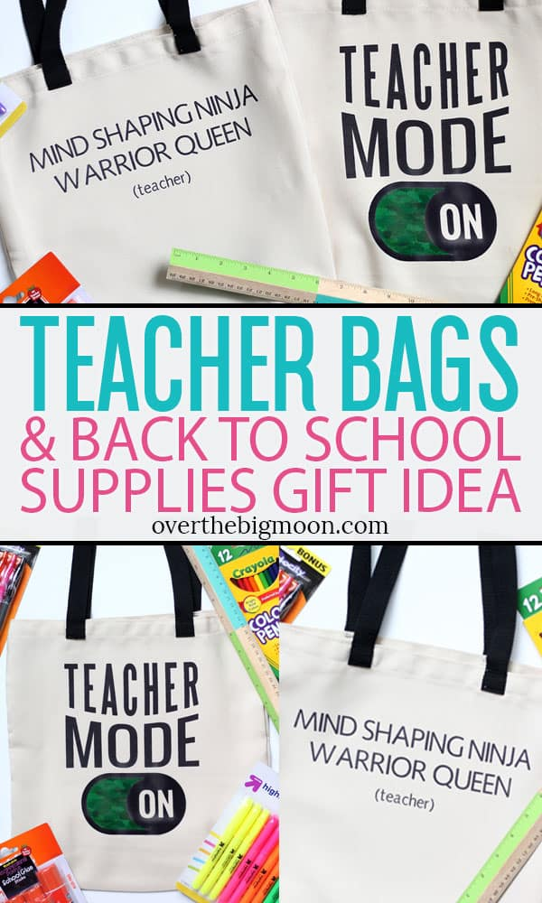 These Teacher Tote Bags are a super cute and easy to make with your Cricut Machine! Whether you're a teacher looking to make yourself a new tote bag or you're wanting to make a tote for a teacher you love, I've got step by step instructions for making them using Cricut's Infusible Ink Transfer Sheets!