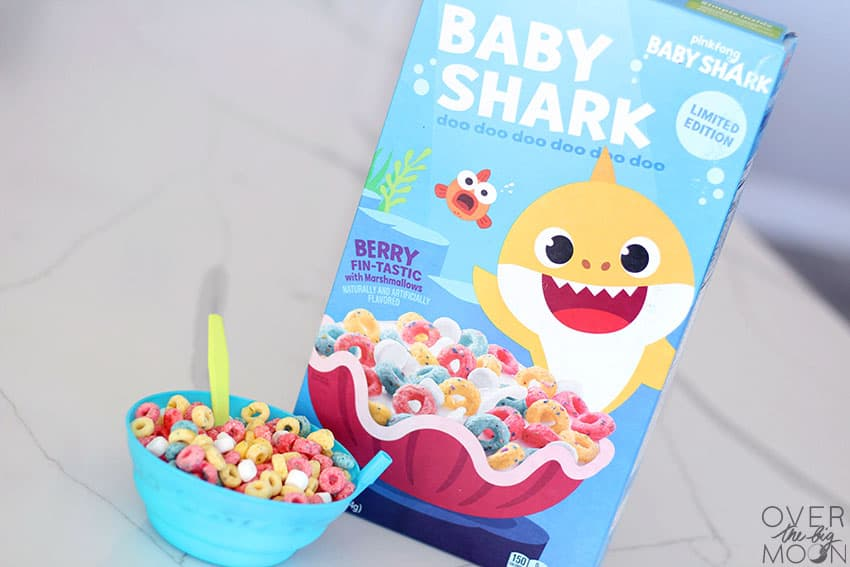 Baby Shark Cereal box and a bowl full of the cereal in milk!