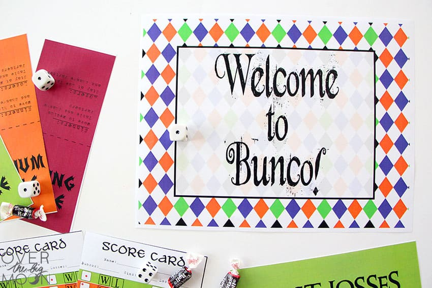 Up close picture of the Halloween Welcome to Bunco Sign!
