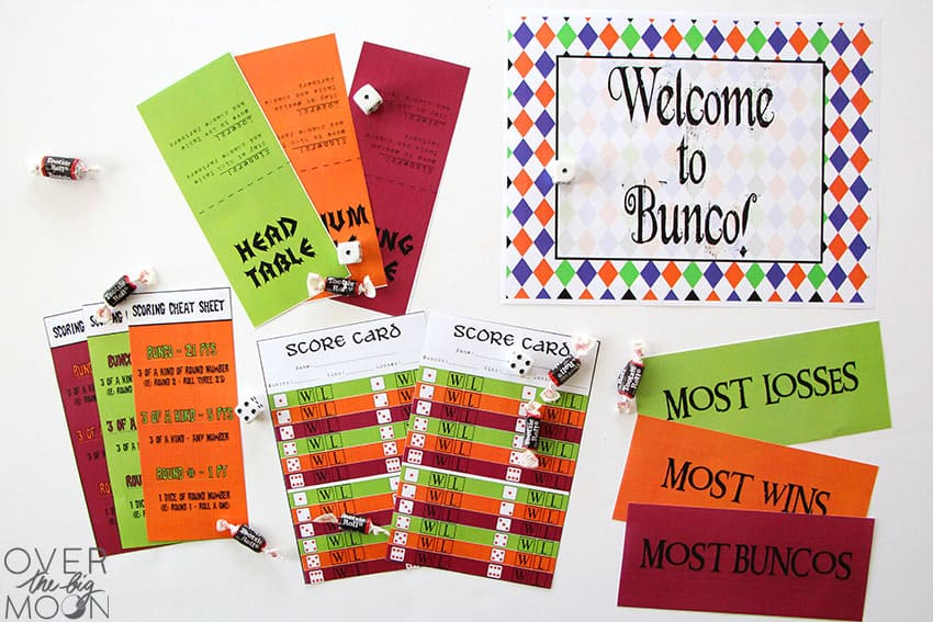 Printable Halloween Bunco Pack -- printed and laid out.