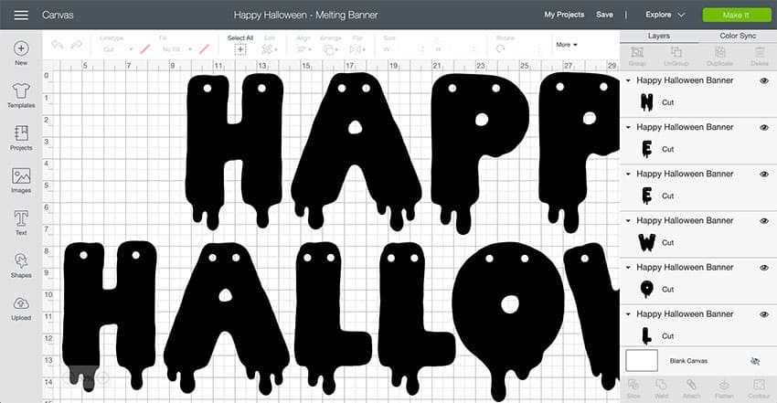 Screenshot of the Happy Halloween Banner Design Space File, ready to cut!