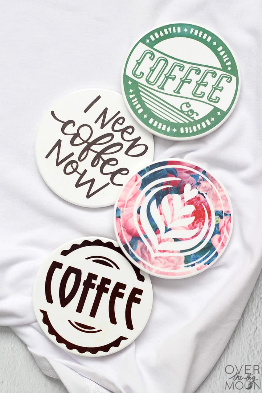4 Coffee themed drink coasters made with Infusible Ink.