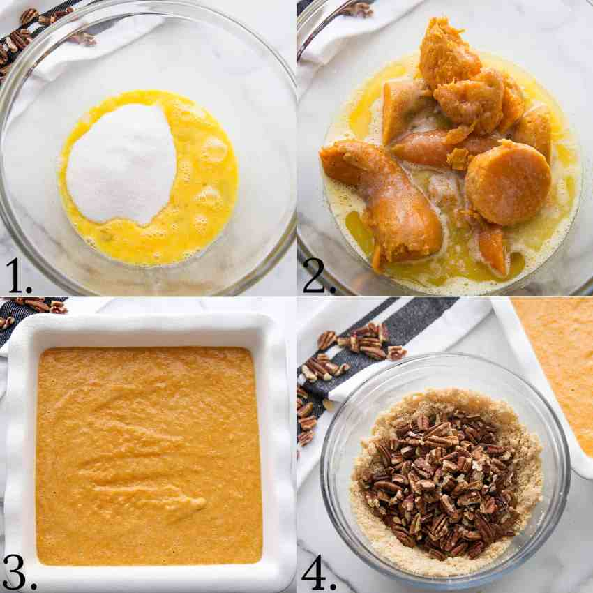 A 4 step picture instruction on how to make Sweet Potato Crunch Casserole.