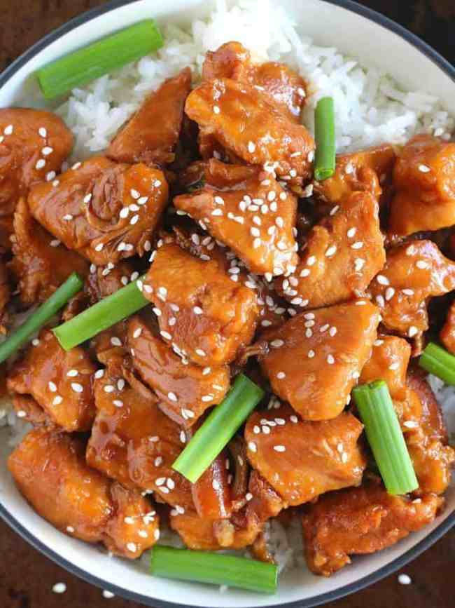 Mongolian Chicken with Rice and Green Onions!