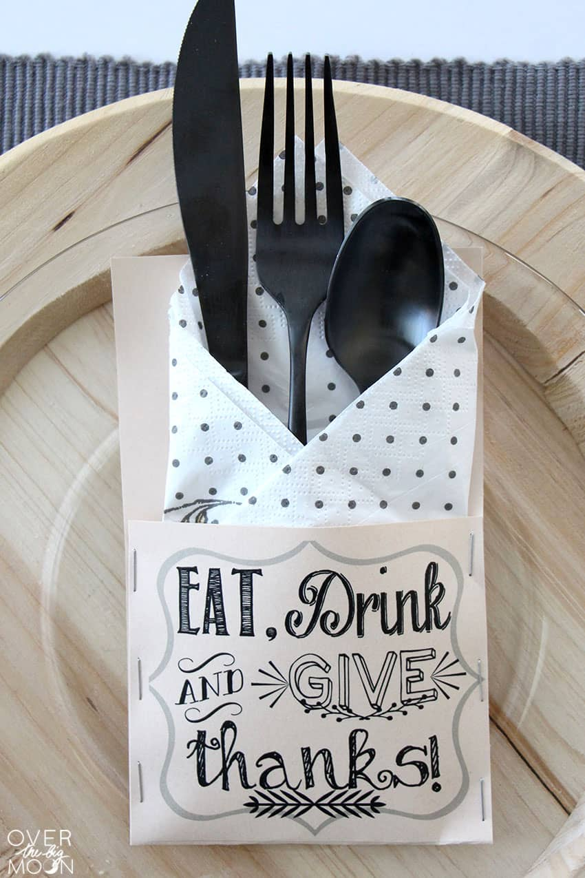 Thanksgiving Silverware Holders | Over The Big Moon