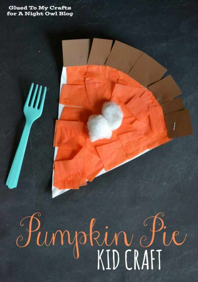 A pie kids craft made from cardstock, tissue paper and cotton balls.