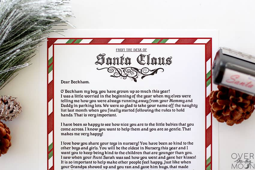 Printable Letterhead for Santa with a letter from Santa.
